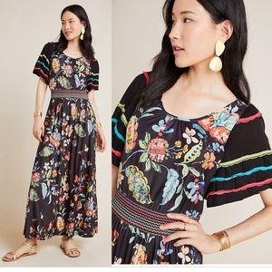 Anthropologie Catalonia floral Maxi Dress